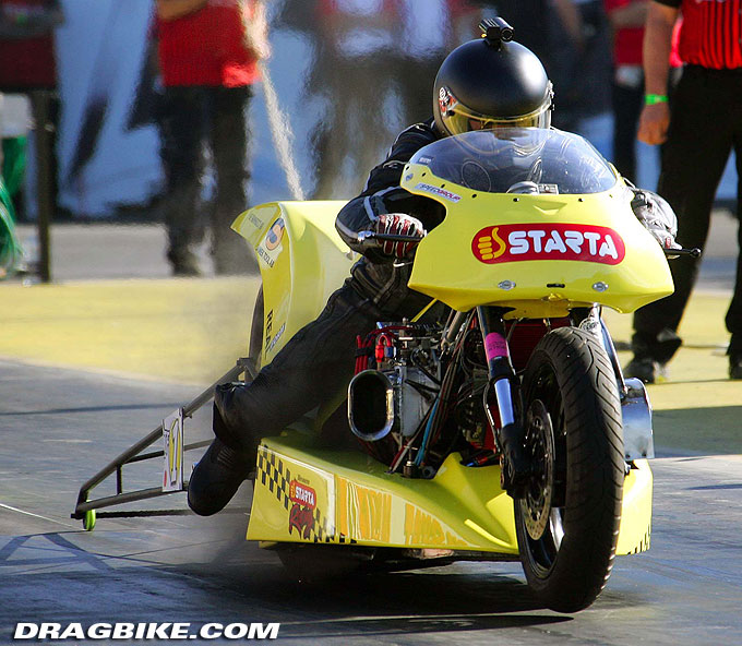 Peter Svensson Fastest Top Fuel Bike run ever 5.709